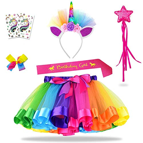 Daisyformals Unicorn Rainbow Tutu Skirt Set (7 Pack) with Unicorn Headband, Fairy Wand, Unicorn Birthday Sash and Hairbow + Free Unicorn Tattoos Perfect for Girls Unicorn Party Favors(3-8 -