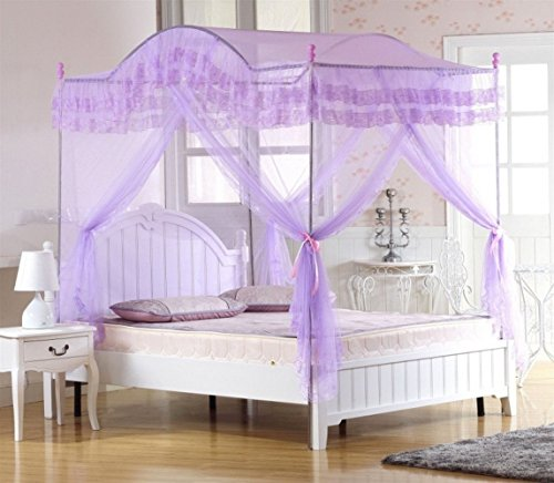 Ka canopy bed Violet Valentine's Four Corner Square Arched Princess Bed Canopy (Full/Queen)