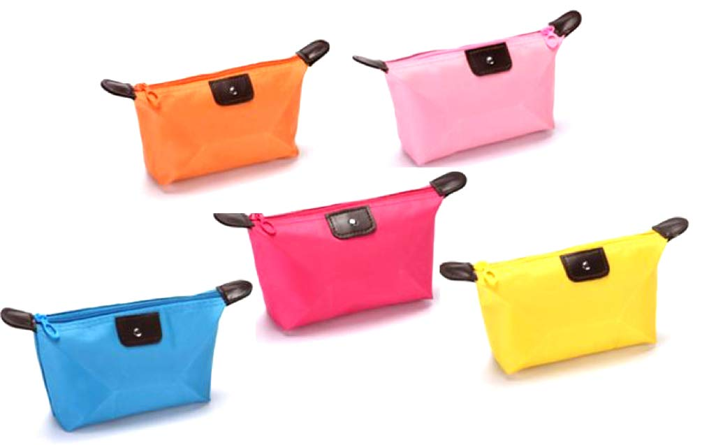 Absolutely Marvelous 5 Pack 5 Colors Waterproof Cosmetic Toiletry Travel Bags in 5 glorious colors Pink Blue Orange Yellow and Rose For Makeup Accessories or Anything That Needs To Stay Dry