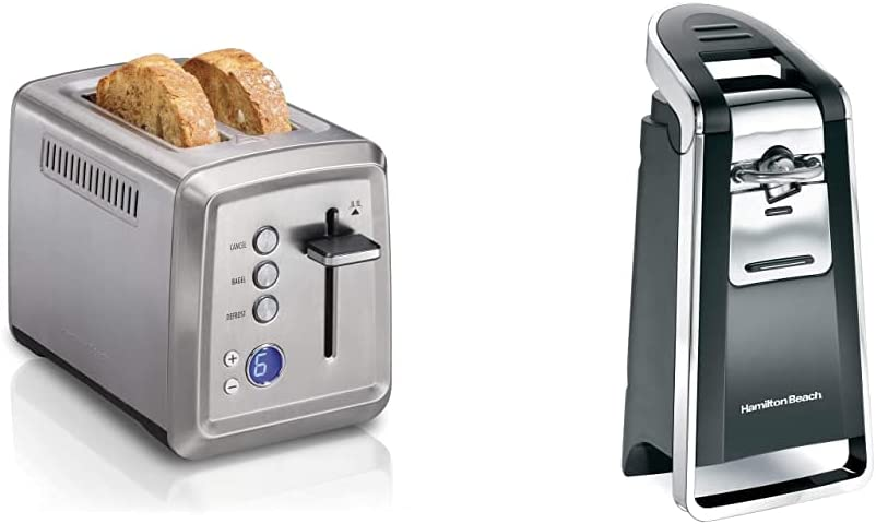 Hamilton Beach 22796 Toaster with Bagel & Defrost Settings, Toast Boost, 2 Slice & Smooth Touch Electric Automatic Can Opener with Easy Push Down Lever, Opens All Standard-Size and Pop-Top Cans