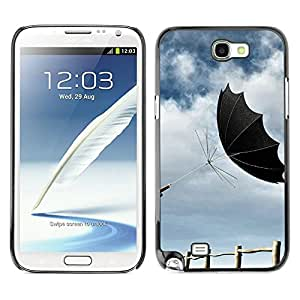 LASTONE PHONE CASE / Slim Protector Hard Shell Cover Case for Samsung Note 2 N7100 / Design Black Umbrella