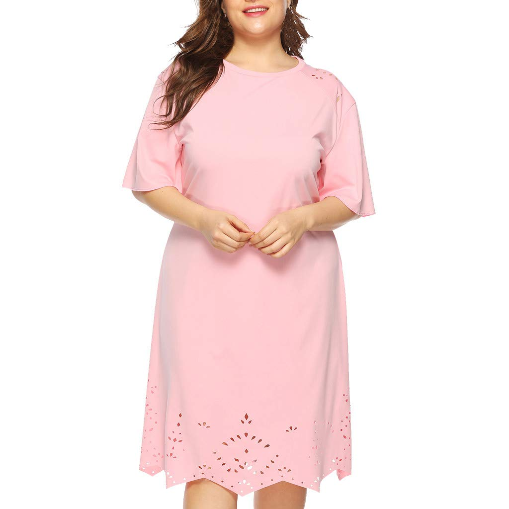 Goddessvan Womens Plus Size Dress Casual O Neck Short Sleeve Hollow Knee Length Dress Party Dress