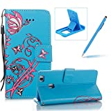 Strap Leather Case for Huawei P9 Lite,Portable Wallet Case for Huawei P9 Lite,Herzzer Bookstyle Retro Brilliant Butterfly Flower Pattern Stand Magnetic Smart Leather Case with Soft Inner for Huawei P9 Lite + 1 x Free Blue Cellphone Kickstand + 1 x Free Blue Stylus Pen - Blue