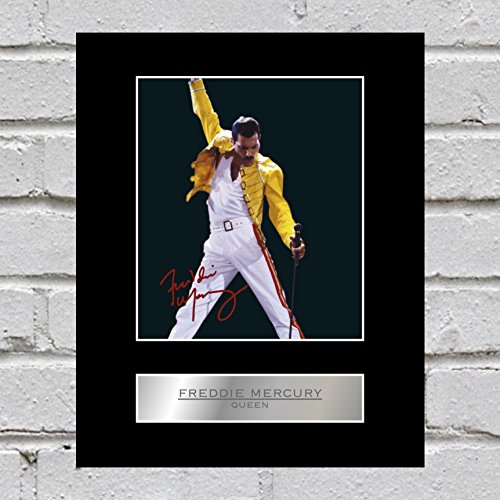 iconic pics Freddie Mercury Signed Mounted Photo Display Queen Autographed Gift Picture Print