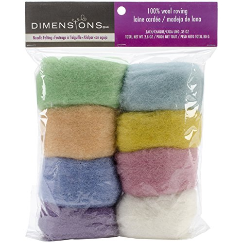 Dimensions Needlecrafts Natural Pastel Wool Roving for Needle Felting, 8 pack, 80g ()