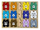 Melissa & Doug Bears Wooden Chunky Puzzle and Stacking Toy With Storage Tray (16 pcs)