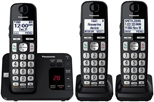 Price comparison product image Panasonic KX-TGE433B Cordless Phone with  Answering Machine- 3 Handsets