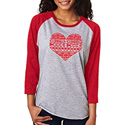 SignatureTshirts Women's Valentines Day Geometric Bohemian Heart Design 3/4 T-shirt L Red