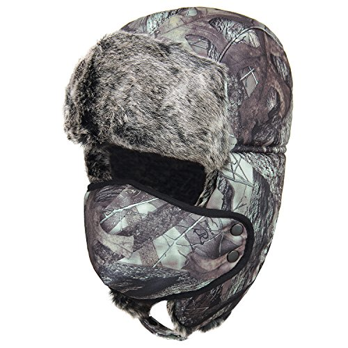 Yusamy Unisex Extra-Thick Plush Winter Trooper Trapper Hat Hunting Ushanka Russian Hat With Ear Flap Mask Camouflage