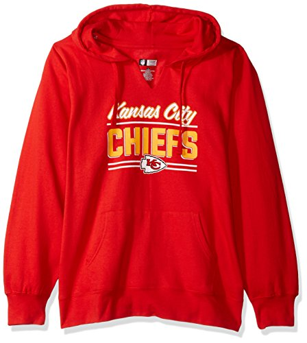 City Golf Shirt - NFL Team Apparel NFL Kansas City Chiefs Women FLEECE PULL OVER NOTCH HOOD, RED, 4X