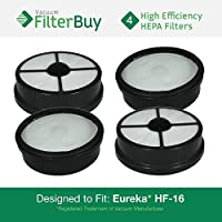 4 - FilterBuy Eureka HF-16 (HF16) HEPA Replacement Filters, Part #s 68115, 68715, 68115A & 67806. Designed by FilterBuy to fit Eureka Air Speed Zuum AS5203A Upright Vacuum