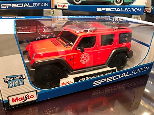 (Maisto 1:18 Diecast Model - Jeep Rescue Concept: Wolf Canyon Fire Dept - Exclusive Style!)