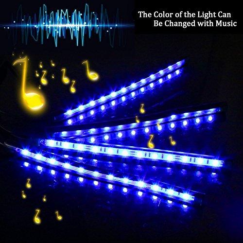car led strip light surlight 4pcs 48 led dc 12v multicolor music car interior light led under. Black Bedroom Furniture Sets. Home Design Ideas