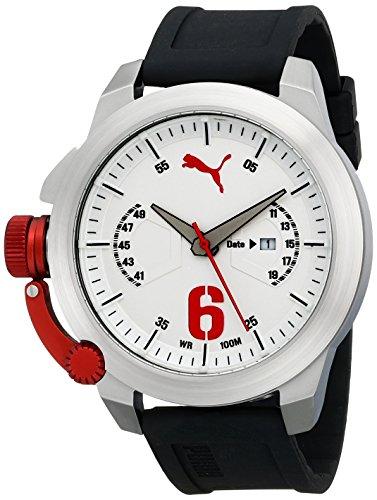 PUMA Men's PU103781001 Advance Silver Analog Display Japanese Quartz Black Watch