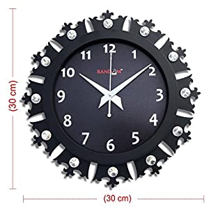 Random Clocks Crowny Round Wood Wall Clock (30 cm x 30 cm x 5 cm, Black)
