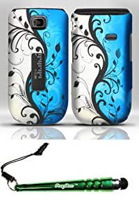 FoxyCase(TM) FREE stylus AND Alcatel One Touch 768T (Metro PCS) Rubberized Design Case Cover Protector - Blue Vines Desire Safe Phone cas couverture