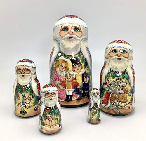 Santa Russian Nesting Doll Nutcracker Fairytale Hand crved Hand Painted 5 Piece Matryoshka Set by BuyRussianGifts (Image #1)