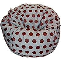 Ahh! Products Delightful Dots Gray Brown Washable Large Bean Bag Chair