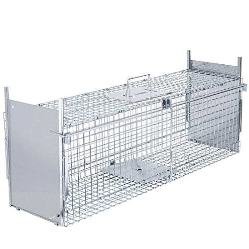 VIVOHOME Collapsible Double Doors Humane Live Animal Cage Trap for Racoons Feral Cats Squirrels Opossum Ground Hog 36 x 10 x 12 Inch