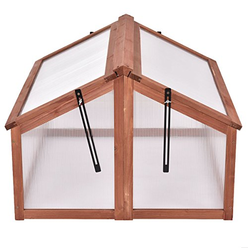 Double Box Garden Wooden Cold Frame Green House Protection Raised Plants Bed New by Riacenst (Image #2)