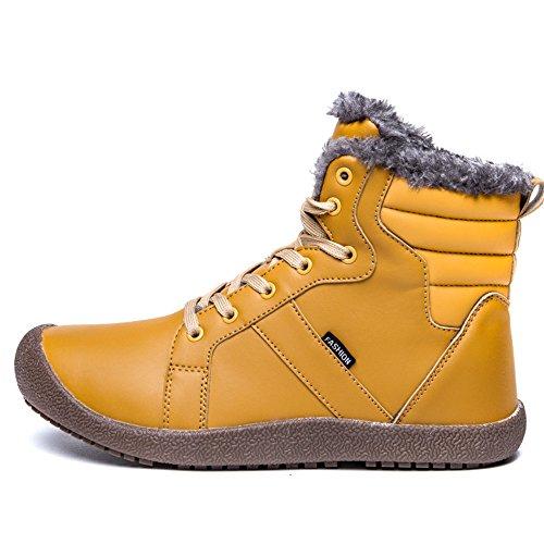 SITAILE Herren Winterboots Outdoorschuhe Schnürerstiefel Hohe Winterschuhe Sneakers Schneestiefel Warme Gefüttert Plüsch Wasserdicht Khaki