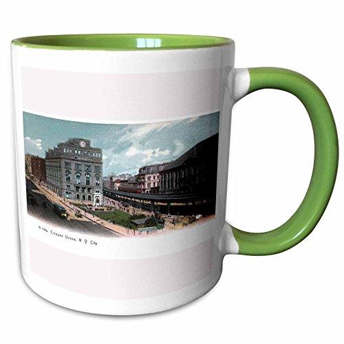 Vintage Reproduction Collection - 3dRose BLN Vintage New York City Collection - Cooper Union Station New York City Vintage Postcard Reproduction - 15oz Two-Tone Green Mug (mug_170678_12)
