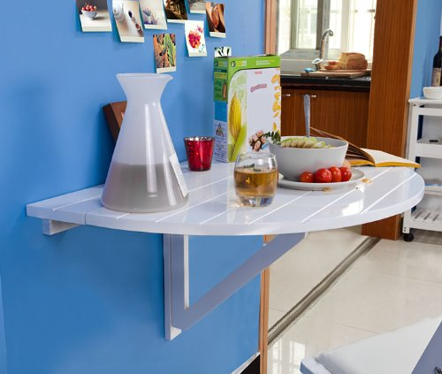 Sobuy Fwt10 W Table Murale Rabattable En Bois Table De Cuisine Pliable Table Enfant Demi Ronde Blanc