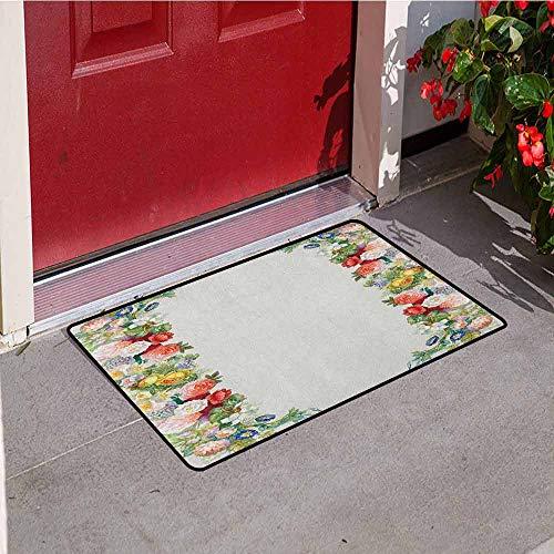 (GloriaJohnson Victorian Welcome Door mat Rose Garland Pastel Tones Jasmine Cornflower Bouquet Classic Bloom Graphic Door mat is odorless and Durable W19.7 x L31.5 Inch Red Yellow Green)