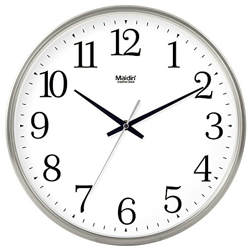 BABYQUEEN 8 Inch Calendar Round Home Decoration Wall Clock Living Room Bedroom Mute Fashion Creative Art Clock General Edition Silver