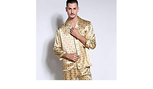 NWT 2PCS Mens Silk Satin Pajamas Sleepwear Pyjamas PJS Long Sleeve M002 M L