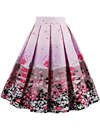 Women's Vintage A-Line Printed Pleated Flared Midi Skirts