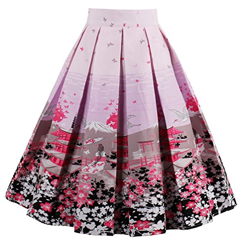 Dressever Women's Vintage A-line Printed Pleated Flared Midi Skirts Beauty butterfly Small (1950's Printed Vintage)