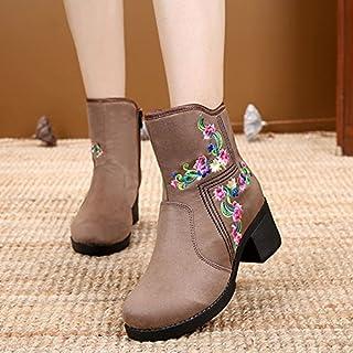 kphy-las grosses bottes de tissu brodé la éolienne nationale? Retro cheval avec bottes de cuir
