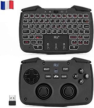 Rii Rk707: Controlador, mando de juegos, 2,4 GHz sin cables, lado del teclado y ratón (Azerty) con Touchpad, función de vibración, turbo retroiluminado, para Ps3, Windows, Android, Linux, SmartTV: Amazon.es: Electrónica
