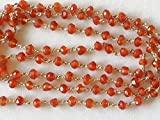 KALISA GEMS Beads Gemstone 5 feet Carnelian Faceted Rondelle Beads in 925 Silver Wire Wrapped Rosary Style Chain Carnelian Beaded Chain