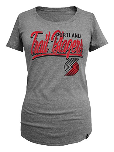NBA Portland Trail Blazers Women's Triblend Jersey Short Sleeve Scoop Neck Tee, Small, Gray