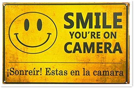 HiSign Smile YouRe On Camera Retro Cartel de Chapa Coffee ...
