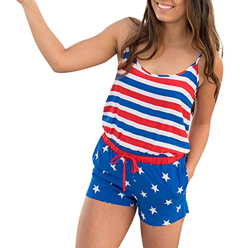 4th of July Rompers and Jumpsuits for Women Ladies Summer Flag Star Striped Printed Shorts Jumpsuits and Rompers Casual
