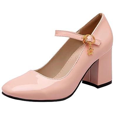 new product 1c995 f95c8 AIYOUMEI Lack High Heels Pumps mit 7cm Absatz Blockabsatz Mary Jane Damen  Hochzeitschuhe
