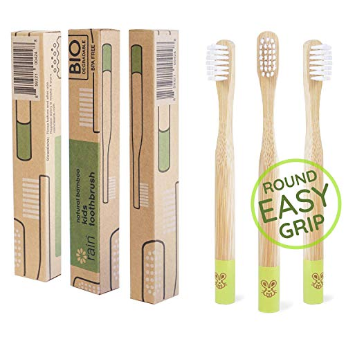 Rain Organic Bamboo Baby Toothbrush - 100% Safe Infant Toddler Kids Toothbrush 6 to 12 Months and Up, Natural BPA-Free Biodegradable Wood Toothbrush Extra Soft Bristles Childrens Dental Care (3 Pack)