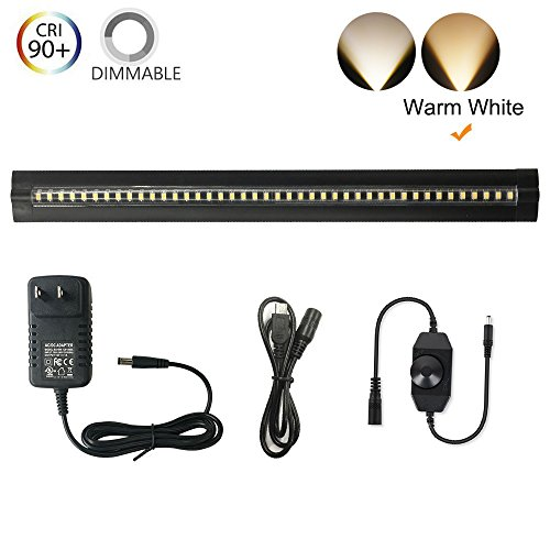 Under Cabinet Lighting - Ultra Thin, 2 Coin Thickness LED Light Plug-In, Full Range Dimmable with 42 LEDs, Large Area Illuminated, Easy Installation, Warm White 12V/1A 5W/450LM CRI90, All in One Kit. - Curio Cabinet Kits