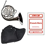 Band Directors Choice Silver Plated Double French Horn Key of F/Bb - A Tune A Day French Horn Pack; Includes Intermediate French Horn, Case, Accessories & A Tune A Day French Horn Book