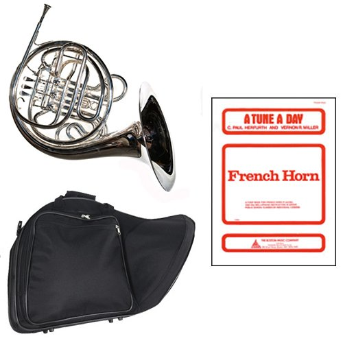 Band Directors Choice Silver Plated Double French Horn Key of F/Bb - A Tune A Day French Horn Pack; Includes Intermediate French Horn, Case, Accessories & A Tune A Day French Horn Book by Double French Horn Packs