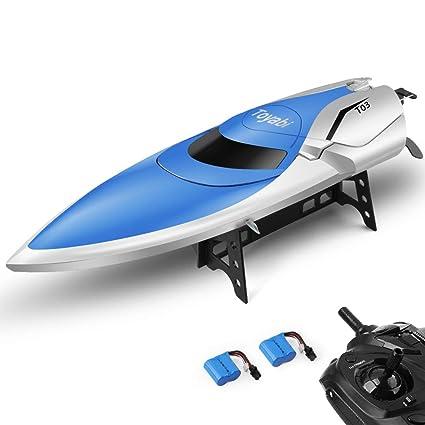 ET RC Barco, Barco de Control Remoto para Piscinas y Lagos 2.4 GHz Alta Velocidad RC Barcos de Carreras para Adultos niños Bonus batería (azulblanco)