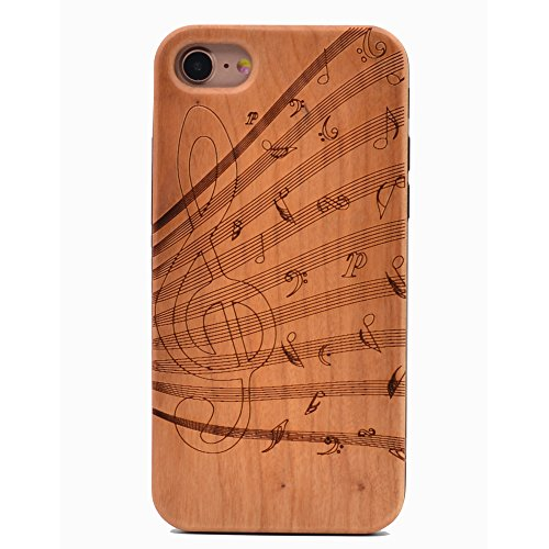 iPhone 7 Wood Case Music Notes Handmade Carving Real Wood Case Wooden Case Cover with Soft TPU Back for Apple iPhone 7