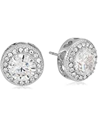 Womens Blue by Betsey Johnson CZ Stone Halo Studs with Pave Crystal Accents Earrings