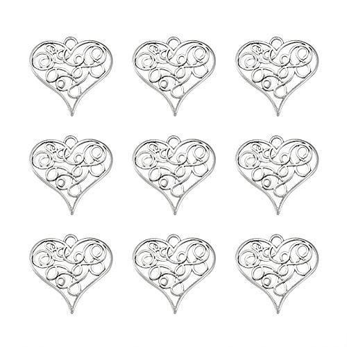 - Craftdady 10Pcs Antique Silver Filigree Love Heart Charms 31.5x32mm Vintage Alloy Lead Free Tiny Sweet Heart Beads Pendants for DIY Jewelry Bracelet Necklace Earring Making