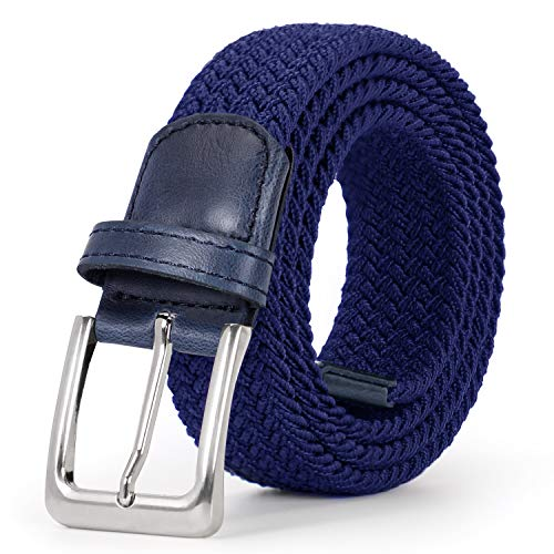 Stretch Belt Men, JASGOOD Women Blue Woven Stretch Braided Belt Metal Buckle ()