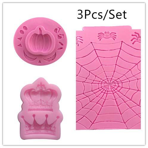 Halloween Cobweb Cake (3Pcs/Set Halloween Pumpkin,Crown,Cobweb Shape 3D Fondant Chocolate Silicone Cake Moulds,Cake Baking Tools Decorating)