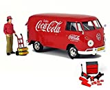 Diecast Car & Mechanic Set Package - 1963 Volkswagen T1 Coca Cola Cargo Van with Delivery Driver, Red - Motorcity Classics 424062 - 1/24 Scale Diecast Model Toy Car w/Mechanic Set
